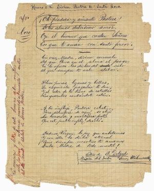 Himno de la Divina Pastora escrito por sus autores.