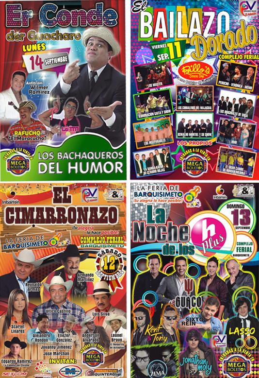 Afiches de los conciertos de la Semana Aniversario de Barquisimeto