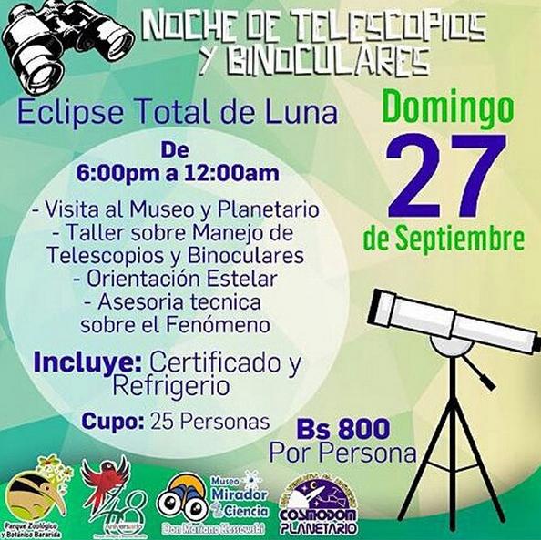 Imagen de un taller teórico práctico del manejo de telescopios y binoculares