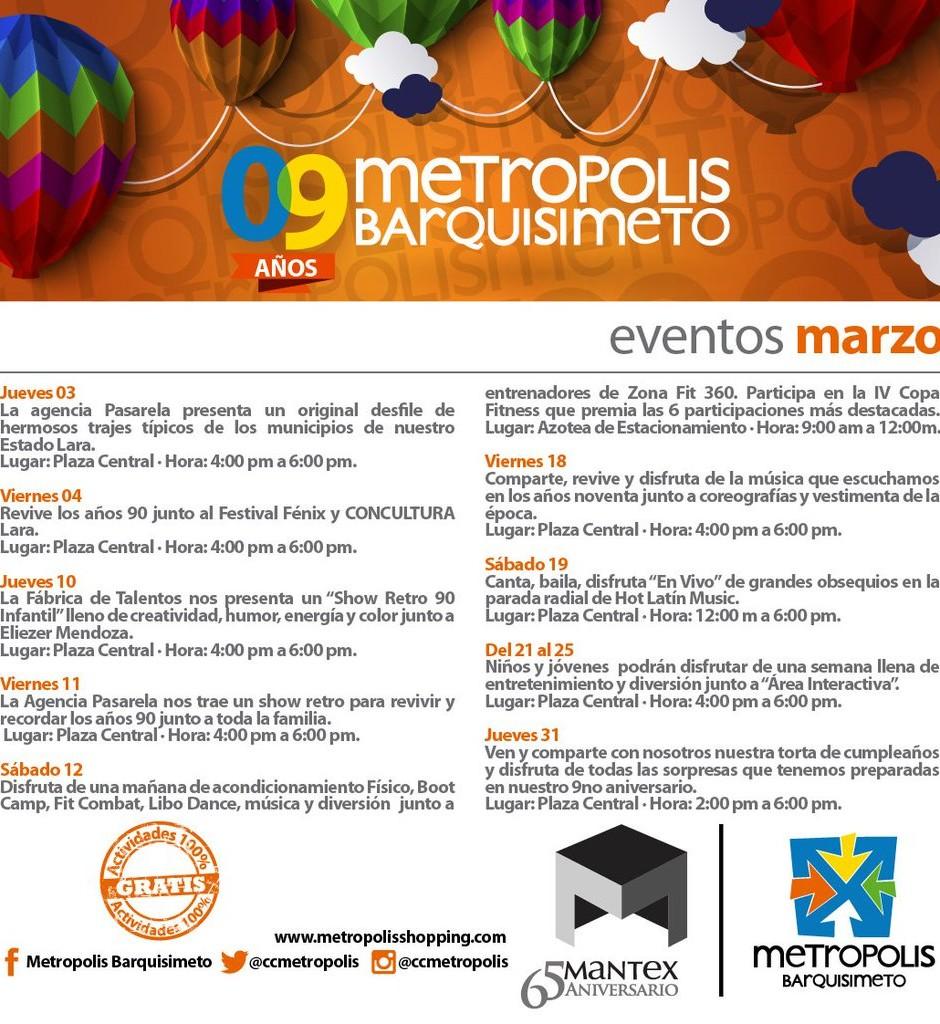 Eventos Metrópolis Marzo
