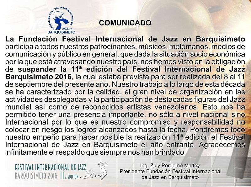 Comunicado Festival Internacional de Jazz