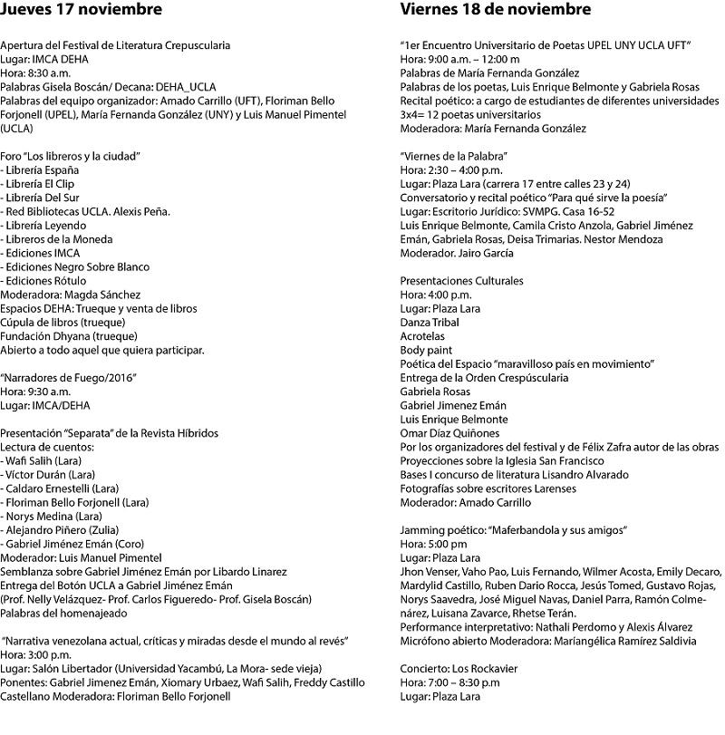 Programa completo Festival