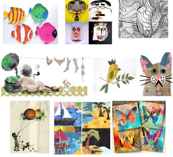 creatividad mediante, línea, pintura y collage
